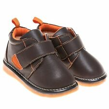 Boys Toddler Childrens Faux Leather Squeaky Boots Shoes - Brown Fleece Lined