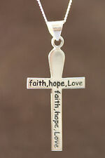 """925 Sterling Silver """"faith hope love"""" cross and necklace"""