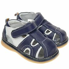 Boys Toddler Childrens Kids Real Leather Squeaky Shoes Sandals Navy Blue & White