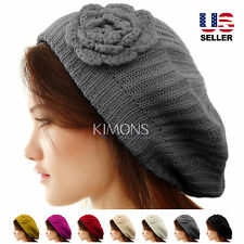 Knit Flower Beret Oversize Slouchy Winter Women Baggy Beanie Hat Ski Cap