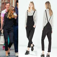 ZARA Black Straight Skinny Denim Jeans Dungarees Ripped Jumpsuit S M Bloggers