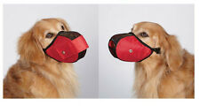 FABRIC MESH DOG MUZZLES - Comfortable Soft Red Muzzle for Dogs That Bite or Chew