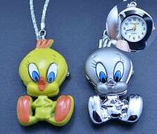 Cute Tweety bird duck pendant quartz pocket necklace watch with chain key ring