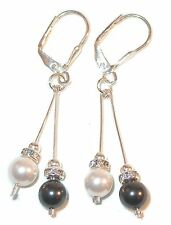 BLACK & WHITE PEARL EARRINGS Sterling Silver Fancy Drop SWAROVSKI Pearl Elements