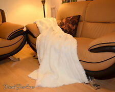 """White Channel Mink 60"""" 72"""" 84"""" Faux Fur Bed Sofa Couch Throws Comforter Blanket"""