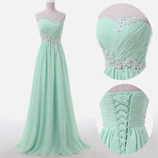 BEADED LONG Bridesmaid Cocktail Gown Party Formal Evening Prom Plus Size Dress