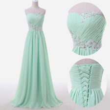 Chiffon BEADED Mint Green Bridesmaid Dress Party Formal Evening Prom Masquerade