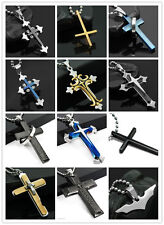 Hot Unisex Men's Silver Gold Black Stainless Steel Cross Pendant Necklace Chain