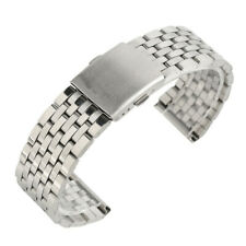 Silver 18/20/22mm Wrist Watch Band Stainless Steel Strap Bracelet Folding Clasp