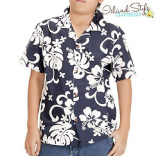 Boys Hawaiian Shirts | Black & White Cotton | Hibiscus Floral