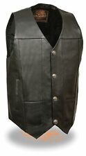 MEN'S MOTORCYCLE MOTORBIKE LEATHER VEST BUFFALO SNAPS SOFT LEATHER BLACK NEW