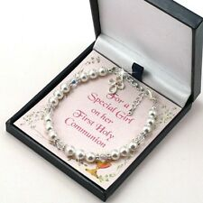 First Holy Communion Jewellery for Girls, Bracelet with Cross on Card in Box.