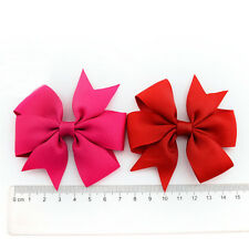 2 Pcs Baby Boutique Big Bow Hair Clips Grosgrain Ribbon Hairpin Headdress