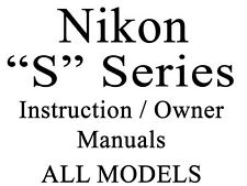 Nikon S Series User Guide Instruction Manual (S1 - S570) (Group 1 of 2)