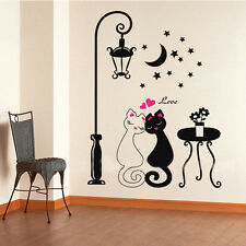 Cute Cats Couple Decal Sticker Vinyl Kids love heart home room cartoon wallpaper