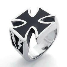 Vintage Black Silver 316L Stainless Steel Band Iron Cross Mens Ring US Size 7-15