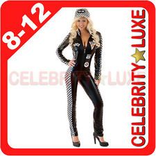 F1 Formula Race Grand Prix Grid Girl Womens Fancy Dress Costume PVC Bodysuit
