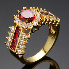 Sz6-11 Charming Red Ruby Women's Jewelry 14KT Yellow Gold Filled Engagement Ring