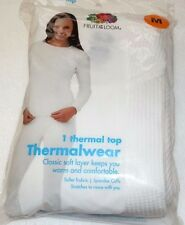 NEW WOMENS SIZE MEDIUM OR XL WHITE THERMAL TOP SHIRT FRUIT OF THE LOOM