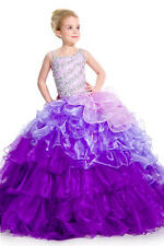 In Stock Girls Pageant Dresses Kids Size 8 Crystals Purple Party Birthday Dress