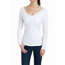 Women's V-neck Cotton Tops Sexy Long Sleeve Ruched Casual Shirts Blouse
