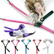 Zip Earbuds Premium 3.5mm Tangle-Free Zipper Earphones For Cellphone MP3 MP4