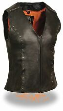 WOMEN'S LADIES MOTORCYCLE RIDING BLACK LEATHER VEST WITH STUDS SOFT LEATHER NEW