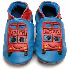 Inch Blue Girls Boys Luxury Leather Soft Sole Baby Shoes - Bus Blue