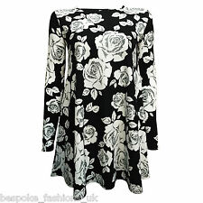 Women's Black White Floral Longsleeve Crepe Swing Mini Dress Plus Sizes 8-22