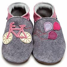 Inch Blue Girls Boys Luxury Leather Soft Sole Baby Shoes - Bike Denim  Rose Pink