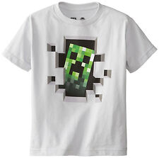 New Minecraft Creeper Inside Silver  Youth T-Shirt.