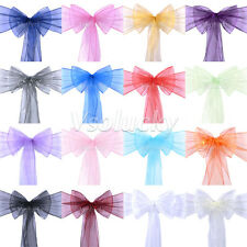 Organza Sheer Chair Cover Sashes Bows Wedding Party Supplies Decorations