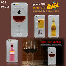 3D Moveable Liquid Beer Wine Glass Cocktail Hard Case Cover For Apple iPhone
