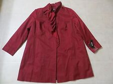 NWT DKNY Women Water Repellent Red Breasted Trench Coat Jacket Ruffle 3X NWT$180