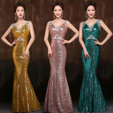 Long Sequins Deep V-Neck Prom Gown Mermaid Evening Wedding Party Cocktail Dress