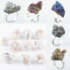 Titanium Cluster Druzy Agate Quartz Stone Gemstone Adjust Finger Ring Jewelry