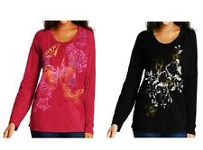 Just My Size Women's Plus-Size Long Sleeve Printed Scoopneck Tee,1X & 2X,  NWT