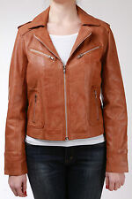 Tan Waxed Ladies Women's Smart Retro Vintage Real Sheep Leather Biker Jacket