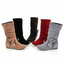 New Women's Bowknot Bling Low Heel Shoes Mid Calf Boots AU All Size B004