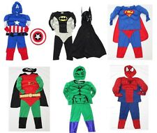 NEW Siz 2~8 MUSCLE MUSCULAR SPIDERMAN BATMAN COSTUME KID BOY TOY DRESS CAPE MASK