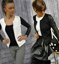 New Ladies Cardigan Bolero Quilted jacket with Faux leather-Sleeves S-XXXXL
