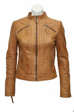 'RIDER' Ladies TAN WASHED Biker Motorcycle Style Soft Real Nappa Leather Jacket