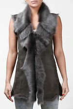 Ladies Women's Grey Toscana Shearling Leather Sheepskin Waistcoat Gilet