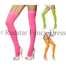 NEON OPAQUE HOLD UP STOCKINGS FANCY DRESS HEN PARTY