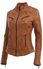 Ladies Real Leather Tan Croc Fitted Bikers Vintage Style Jacket