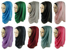 Solid Cotton Hijab Scarf Shawl Black white red green blue teal