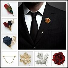 Buy 2 Get 1 Free Wedding Suit Shirt Corsage Lapel Stick Pin Chain Brooch
