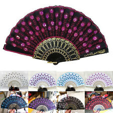 Silk Folding Lace Hand Held Dance Spanish Style Fan Sequins Flower Wedding Party
