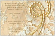 50 100 Vintage LACE PEARLS on Beige Romantic PERSONALIZED WEDDING Invitation