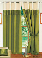 STYLISH 2 TONE RING TOP EYELET LINED CURTAIN FAUX SILK COLOUR LIME GREEN & CREAM